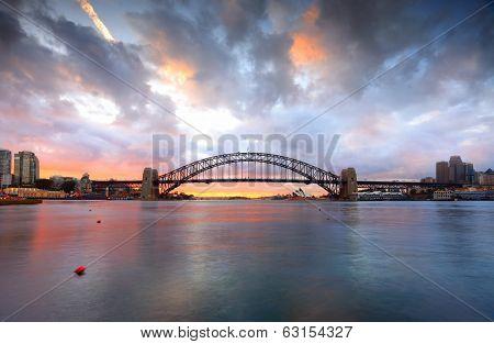 Good Morning Sydney With Harbour Bridge And Opera House At Sunrise