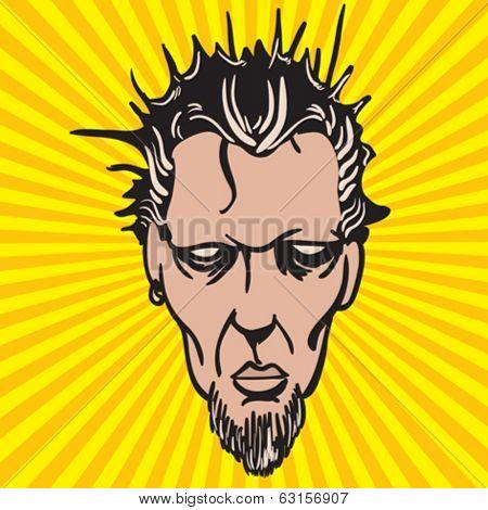 weird looking face cartoon illustration