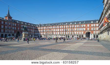 Plaza Mayor in Madrid in spring