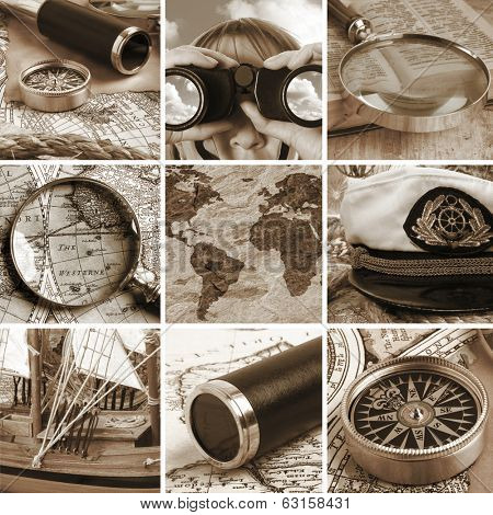 Marine collage with old compasses and maps