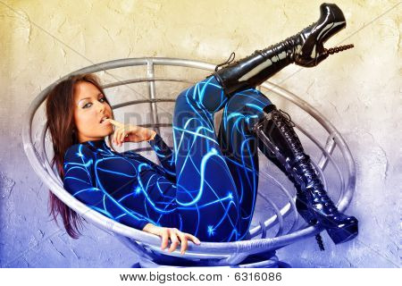 Futuristic Girl In Fashion Chair.