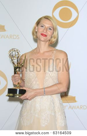 LOS ANGELES - SEP 22: Claire Danes in the press room during the 65th Annual Primetime Emmy Awards held at Nokia Theater L.A. Live on September 22, 2013 in Los Angeles, California
