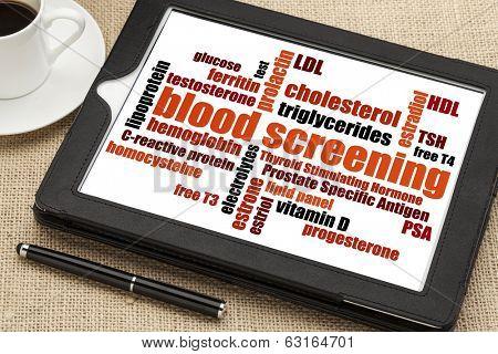 healthcare concept - blood screening word cloud on a digital tablet