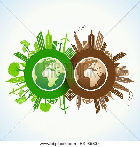 Eco and Polluted city around infinity symbol and earth stock vector