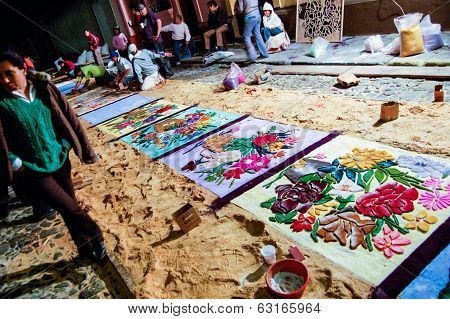 Making A Holy Week Carpet At Night, Antigua, Guatemala