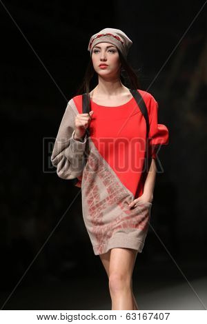 ZAGREB, CROATIA - APRIL 11: Fashion model wears clothes made by Jet Lag on