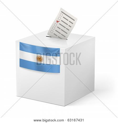Ballot box with voting paper. Argentina