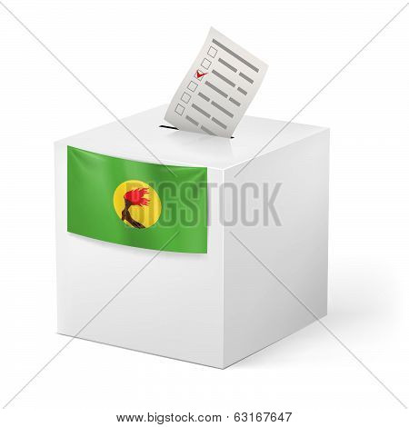 Ballot box with voting paper. Zaire
