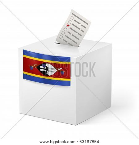 Ballot box with voting paper. Swaziland