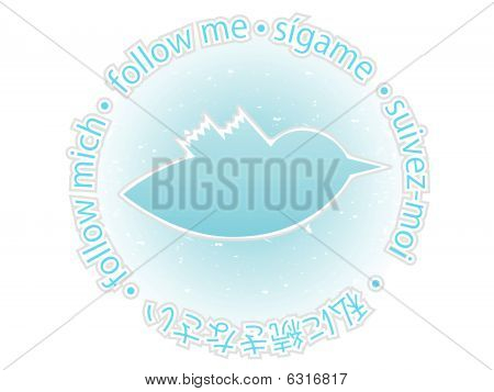 Multilingual follow me texture blue bird badge