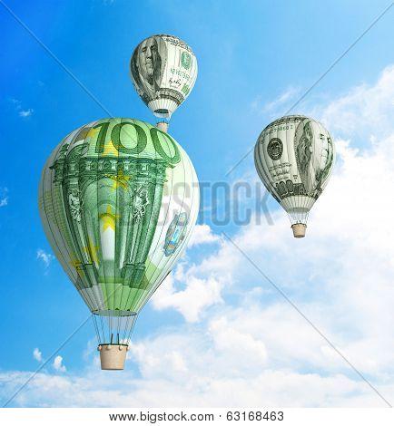 money bills Hot Air Balloon in the Sky