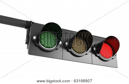 traffic lights in red light on an isolated white background