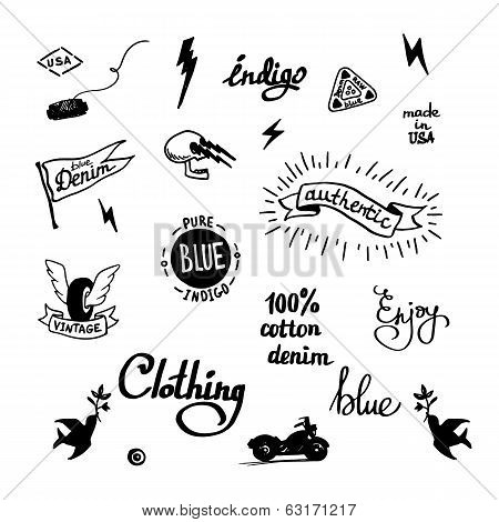 old school denim biker symbols