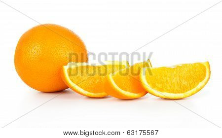 Whole orange fruit and his segment or cantle isolated on white background