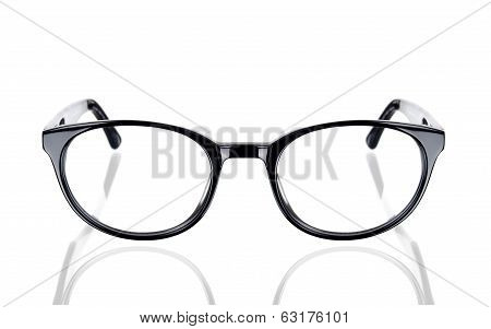 Black glasses frame on a white background with space for text