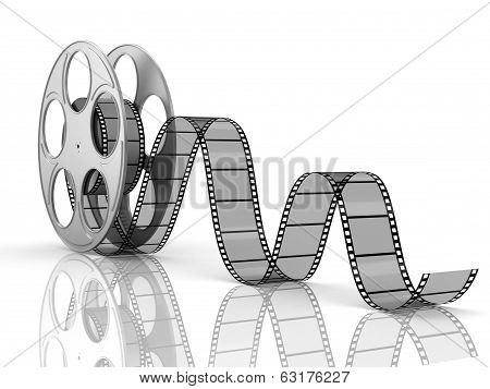 3d film reel copy isolated on an isolated white background