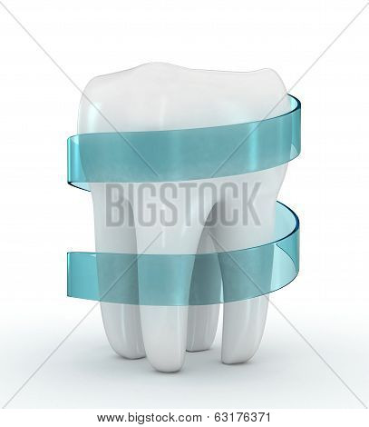teeth protection 3d concept isolated on white background