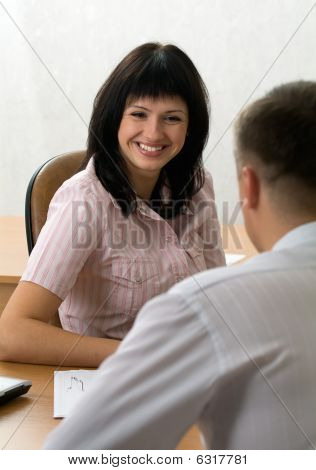 Beautiful Girl At A Job Interview