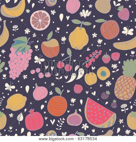 Tasty seamless pattern in dark colors made of fruits and berries. Lemon, redcurrant, apple, strawberry, banana, grape, pomegranate, peach, cherry, pear, plum, raspberry, blueberry, orange, figs, kiwi