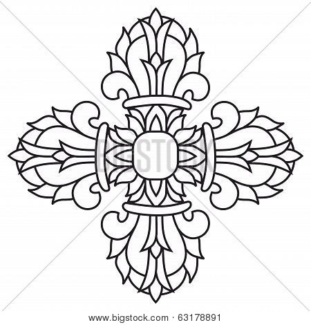 Sacred Buddhist Religious Symbol  - Vajra Or Dorje,sanskrit Word Meaning Both Thunderbolt And Diamon