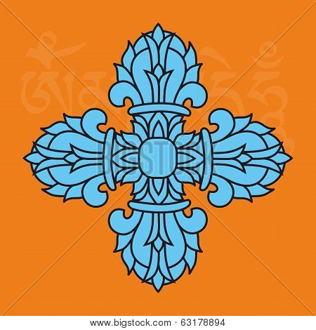 Sacred Buddhist Religious Symbol  - Vajra Or Dorje, Male Attribute,vector Illustration