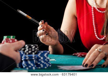 Smoking Gambler Closeup
