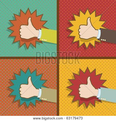 Vintage Thumb Up Like Hands