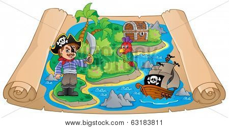 Pirate map theme image 4 - eps10 vector illustration.