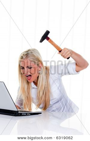 Furious Woman About To Smash Laptop