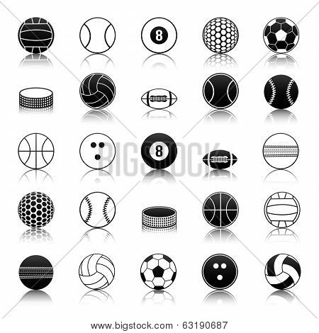 Sport balls icons pack