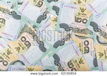 Thai Money 20 Baht Isolated On White Background