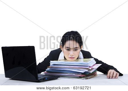 Isolated Tired Businesswoman At Office