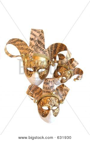 Three Venetian Decorative Carnival Masks