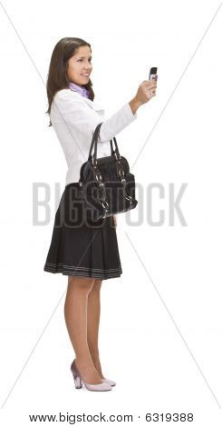 Female Shooting With A Camera Phone