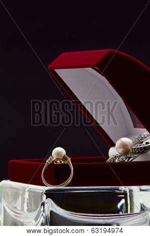 Ring And Brooch With Pearls