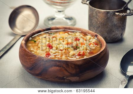 Bowl Of Minestrone Soup With Lentil