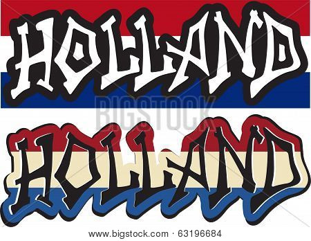Holland word graffiti different style. Vector