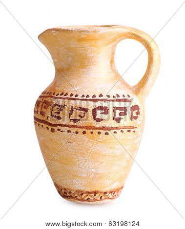 Greek ceramic amphora, isolated on white