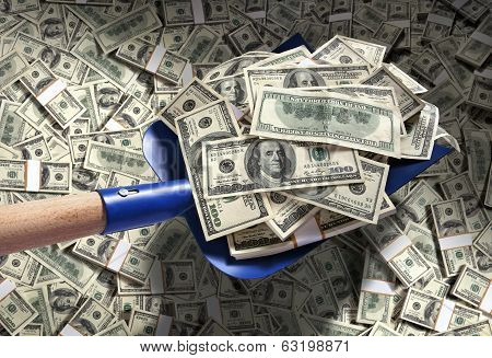 Money with shovel