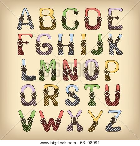 Sketch alphabet font colored