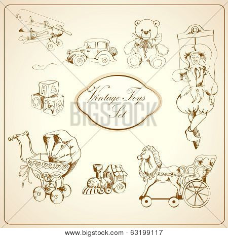 Retro toys drawn icons set
