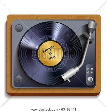 Vinyl record player print