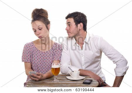 Young Couple With Their Phones Are Disgruntled