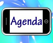 Agenda Smartphone Means Online Schedule Or Timetable