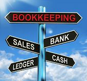 Bookkeeping Sign Means Sales Ledger Bank And Cash