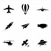 foto of aeroplane symbol  - Vector black airplane icons set on white background - JPG