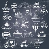 Big doodled transportation icons collection in black-and-white. Travel set with retro cars, air-ball