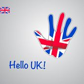 Template - hello UK. Background-hand with the flag of UK and London's major attractions - Big Ben.