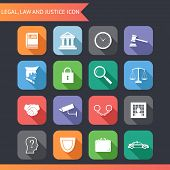 stock photo of jury  - Flat Law Legal Justice Icons and symbols Vector Illustration - JPG