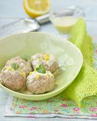 foto of boll  - meat bolls with lemon cream sauce in to the green dish - JPG